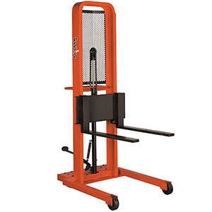 "Manual Stacker - 64"" Raised Ht. Forks, 1000 lb. Cap., 80"" x 32"" x 49"""