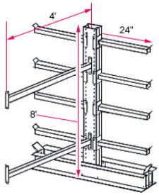 "8'h x 4'w Medium-Heavy Duty Cantilever Rack - Adder  - (8) 24"", 650 Lbs. Cap. Arms"