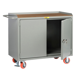 "Mobile Workbench Cabinet - 24"" x 48"", No Drawers, Hardboard Top, Cabinet Doors"