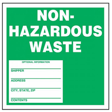 Green Non-Hazardous Waste Label - 6 in. x 6 in., Roll of 250
