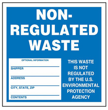 "Blue Non-Regulated Waste Label - 6"" x 6"", Roll of 250"