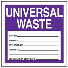 "Purple Universal Waste Label - 6"" x 6"", Roll of 250"