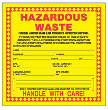 "Yellow Hazardous Waste Label, New Jersey - 6"" x 6"", Roll of 250"