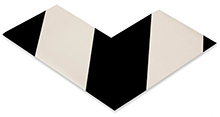 Floor Tape - Angle, White with Black, 6-in. x 6-in. x 3-in., Box of 100