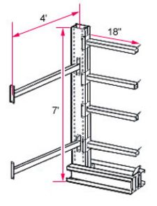 "7'h x 4'w Medium-Heavy Duty Cantilever Rack - Adder  - (4) 18"", 870 Lbs. Cap. Arms"
