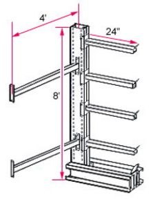 "8'h x 4'w Medium-Heavy Duty Cantilever Rack - Adder  - (4) 24"", 650 Lbs. Cap. Arms"