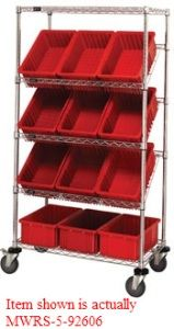 "Mobile Slanted Wire Shelving with 5 Shelves & 12 Bins - 36""L x 18""W x 63""H"