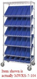 "Mobile Slanted Wire Shelving - 36""L x 18""W x 74""H with Forty-Eight 16-1/2"" x 4-1/8"" x 4"" bins"