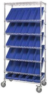 "Mobile Slanted Wire Shelving with 7 Shelves & 30 Bins - 36""L x 18""W x 74""H"