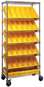 "Mobile Slanted Wire Shelving with 7 Shelves & 36 Bins - 36""L x 18""W x 74""H"