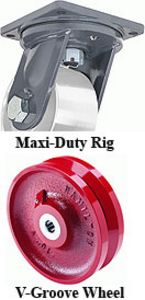 "Maxi-duty Rigid Caster - 8"" x 4"" V-Grooved Wheel"