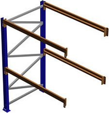 "Pallet Rack Adder Section, 96""H x 36""D x 108""W, 6125 lbs. Cap., 2 Beam Levels"