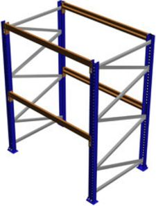 "Pallet Rack Starter Section, 96""H x 42""D x 120""W, 7335 lbs. Cap., 2 Beam Levels"