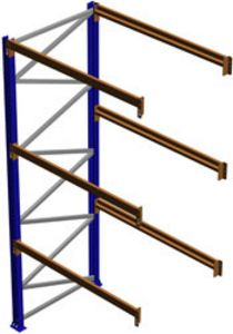 "Seismic Pallet Rack Adder Section, 144""H x 42""D x 48""W, 5620 lbs. Cap., 3 Beam Levels"