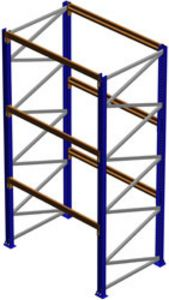 "Pallet Rack Starter Section, 144""H x 48""D x 120""W, 7335 lbs. Cap., 3 Beam Levels"