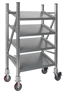 "Steel Pick Shelving, Mobile - Single - Tilt, 60""h x 39""w x 24""d"