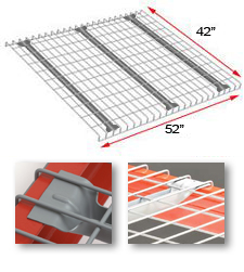 "Wire Rack Deck, 42 x 52, 2-1/2"" x 4"" mesh, 3 flared channels - 2500 lbs. cap."