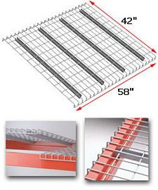 "Wire Rack Deck, 42 x 58, 2"" x 4"" mesh, 4 channels - 3600 lbs. cap."