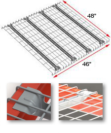 "Wire Rack Deck, 48 x 46, 2-1/2"" x 4"" mesh, 4 flared channels - 2500 lbs. cap."