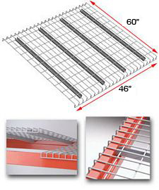 "Wire Rack Deck, 60 x 46, 2-1/2"" x 4"" mesh, 4 channels - 2300 lbs. cap."