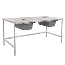 Cannabis Trim Table with Stainless Steel Top - U-frame with 2 holes for collection