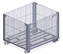 "Stackable Rigid Wire Container with 1/2 Front Drop Door - 40"" x 48"" x 30"""