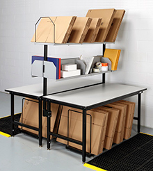 Back-to-Back Packing Workstations, 68w x 66d x 29 to 36h