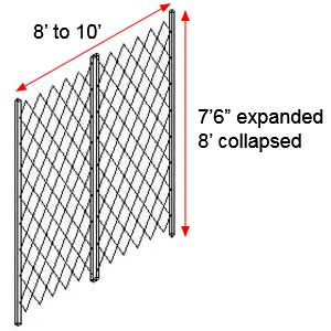 "Retractable Folding Gate, Double, 8' - 10' W, 8' Collapsed Ht, 7' 6"" Expanded Ht"