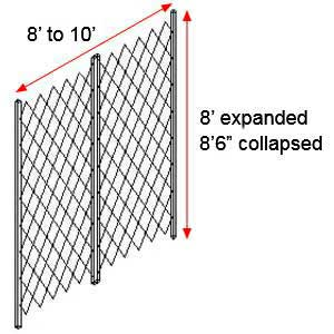 "Retractable Folding Gate, Double, 8' - 10' W, 8' 6"" Collapsed Ht, 8' Expanded Ht"