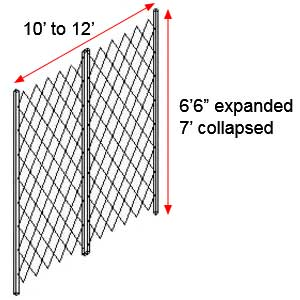 "Retractable Folding Gate, Double, 10' - 12' W, 7' Collapsed Ht, 6' 6"" Expanded Ht"