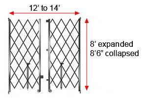 "Retractable Folding Gate, Double, 12' - 14' W, 8' 6"" Collapsed Ht, 8' Expanded Ht"