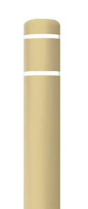 "Beige Bollard Cover with White Contrast Stripe - Fits 52""H x 4.5""Dia. Post"