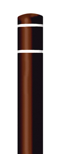 "Brown Bollard Cover with White Contrast Stripe - Fits 52""H x 4.5""Dia. Post"