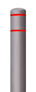"Grey Bollard Cover with Red Contrast Stripe - Fits 60""H x 7""Dia. Post"