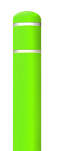 "Lime Green Bollard Cover with White Contrast Stripe - Fits 60""H x 7""Dia. Post"