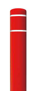 "Red Bollard Cover with White Contrast Stripe - Fits 52""H x 4.5""Dia. Post"