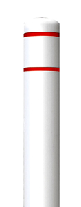 "White Bollard Cover with Red Contrast Stripe - Fits 52""H x 4.5""Dia. Post"