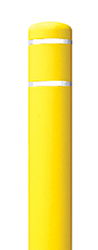 "Yellow Bollard Cover with White Contrast Stripe - Fits 52""H x 4.5""Dia. Post"