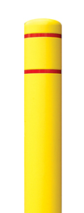 "Yellow Square Post Bollard Cover with Red Contrast Stripe - Fits 55""H x 4.5""Dia. Post"