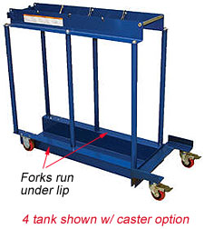 Cylinder Transport Caddy for Pallet Jack - holds 4 tanks
