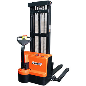"Power Stacker, 101"" Raised Ht., 2200 lbs. Cap., Adjustable Forks"