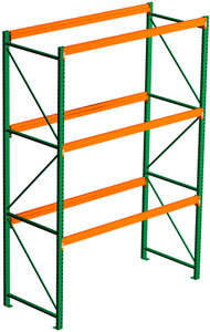 Pallet Rack Starter - 144h x 42d x 96w, 3 Beam Levels - 4000 Cap. Beams