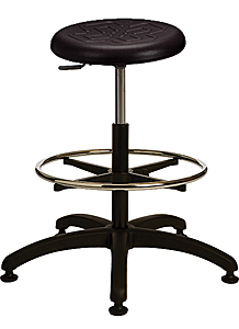 "Polyurethane Work Stool with Round Seat - 22.5"" - 32.5""H adjustable, 5-leg ABS Plastic Base"