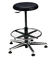 "Polyurethane Work Stool with Round Seat - 22"" - 32""H adjustable, 5-leg Polished Aluminum Base"