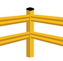 "Lite-Duty Guard Rail - Corner Post, 42""H"
