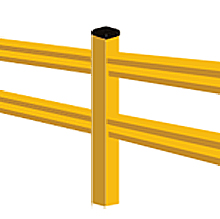 "Lite-Duty Guard Rail - Inline Post, 42""H"