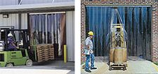 "Vinyl Strip Door - 4' x 7' - 8"" x .198 Scratch-Guard Strips, MaxBullet HTP Silver Hardware"
