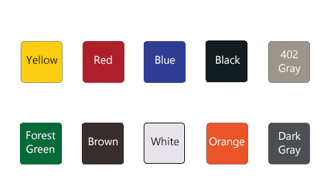 Swatch of available base colors: Yellow, Red, Blue, Black, 402 Gray, Forest Green, Brown, White, Orange and Dark Gray