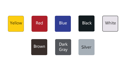 Swatch of available post colors: Yellow, Red, Blue, Black, White, Brown, Dark Gray, Silver