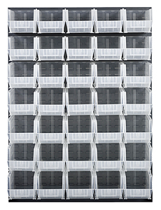 "Louvered Panel - Oyster White, 48""W x 61""H w/ 35 Clear View 14-3/4"" x 8-1/4"" x 7"" Bins"